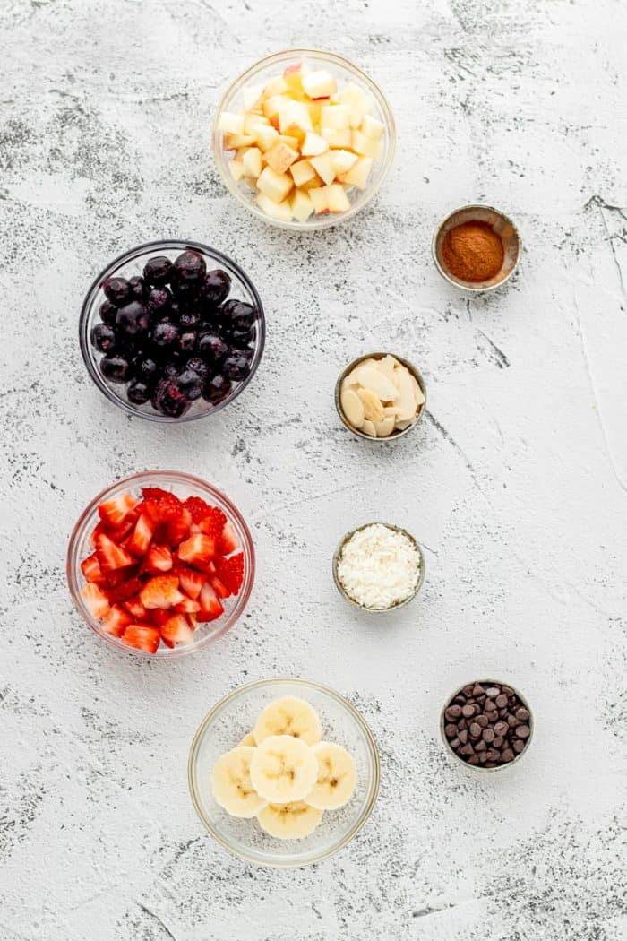 toppings for the muffins in little bowls